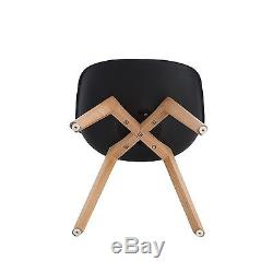 4x Charles Eames Style Dining Chairs With Solid Crossed Oak Wood Leg Base Office