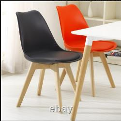 4x Dining Chairs lOUNEG Chairs Solid Wooden Legs Office Kitchen Padded Seat Sale