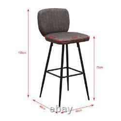 4x Vintage Bar Stools Breakfast Chairs Dining Chair High Legs Kitchen Dark Grey