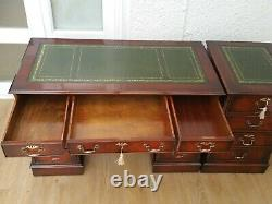 4x2ft LEATHER TOP CAPTAINS DESK + FILING CABINET + CHESTERFIELD OFFICE CHAIR