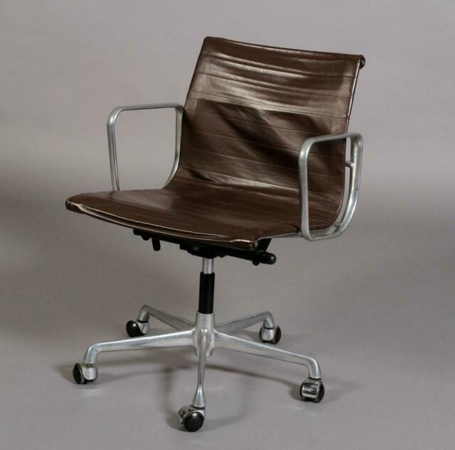 6 Eames Icf Ea 117 Brown Leather Office Chairs Vintage Mid Century 60s 70s Era #