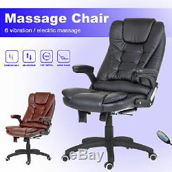 6 Point Massage Executive Home Office Desk Computer Chair PU Swivel Reclining
