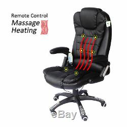 6 Point Massage Office Computer Chair Luxury Leather Swivel Reclining