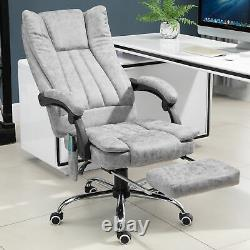 6-Point Vibrating Massage Office Chair PU Leather with Manual Footrest Padding