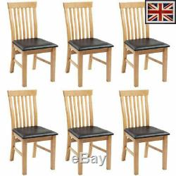 6 pcs set Oak Wooden Dining Room Chairs Home Office Kitchen Dinner Side Seating