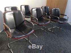6 x PIEFF VINTAGE BLACK LEATHER DINING MEETING ROOM OFFICE CHAIRS