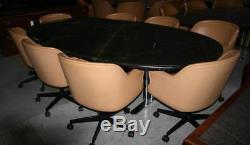 8 Danish mid century designer modern mod retro LEATHER swivel tub chair