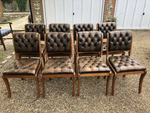 8 Regency Chesterfield Leather Mellow Oak Chairs Dining/home/office/study