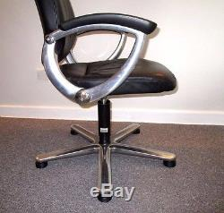 8 x Girsberger Conference Board Meeting Room Black Leather Chrome Office Chairs