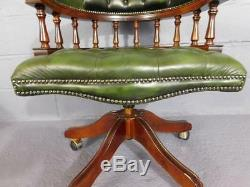 A Good Antique Styled Green Button Leather Swivel Office Desk Chair
