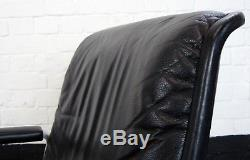 A Good Mid Century Vintage Black Leather and Alloy Office Armchair