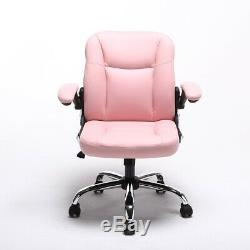 ALEKO Mid-Back Office Chair Ergonomic Computer Desk Chair PU Leather Pink