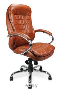 AVANSYS Santiago High Back Luxurious Leather Executive Armchair with Chrome Base