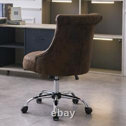 Adjustable Computer Desk Chair Retro Distressed Leather Swivel Chair Home Office