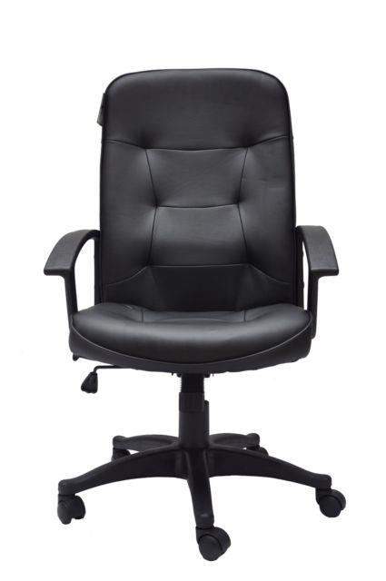 Adjustable Office Desk Computer Chair Pu Leather Padded 360 Degree Turn Black