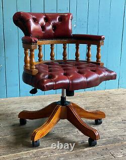 Adjustable Oxblood Red Leather Chesterfield Captains Office Desk Chair DELIVERY