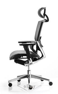 Alpha Black leather or mesh executive office chair NO HEADREST