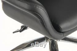 Ambassador Reclining Executive Chair Black Faux Leather Chrome Base Office Chair