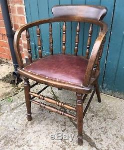 Antique 1920's Elm, Beech & Leather Captains Office Cabin Chair Desk Chair