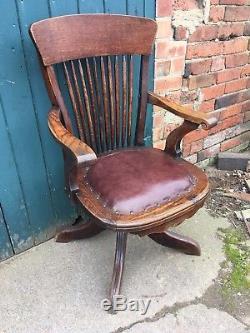 Antique 1920's Oak & Leather Captains Office Cabin Chair Desk Chair Tilt Swivel