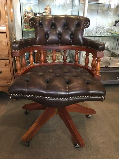 Antique Brown Leather Chesterfield Captains Swivel Office Chair