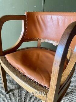 Antique C. 1930 Vintage Art Deco Edwardian Oak Office Desk Leather Tub Arm Chair