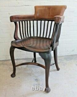 Antique Edwardian Oak & Brown Leather Library Office Captains Chair Armchair