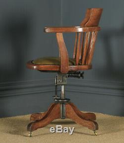 Antique Edwardian Oak & Green Leather Revolving Swivel Office Desk Arm Chair