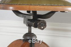 Antique English Edwardian Oak Leather Revolving Swivel Office Desk Arm Chair