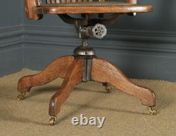 Antique English Edwardian Oak Tan Brown Leather Revolving Office Desk Arm Chair