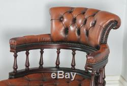 Antique English Victorian Style Mahogany & Leather Captains Office Desk Armchair