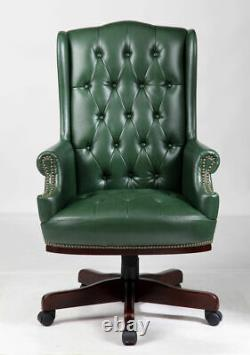 Antique Green Chesterfield High Back Desk Office Chair Bonded Leather Captains D