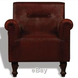 Antique Leather Armchair Vintage Brown Chair Office Buttoned Furniture Club Seat