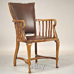 Antique Office Chair Warings & Gillow, Oak, Leather (delivery available)