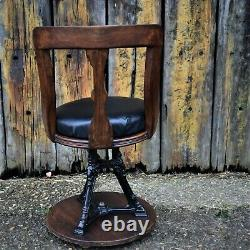 Antique Rare Swivel Chair Captains Ship Chair Boat Nautical Navel Office Desk