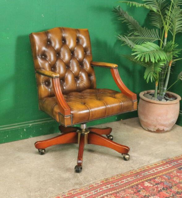 Antique Style Desk Chair, Swivel, Study, Solid Wood, Leather, Buttoned, Castors
