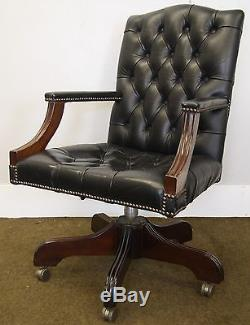 Antique Style Gainsborough Chesterfield Black Leather Swivel Office/desk Chair
