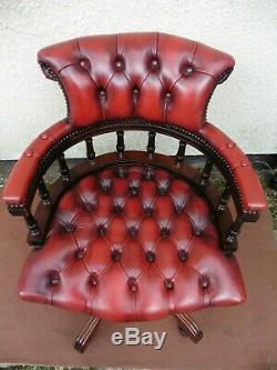 Antique Style Mahogany Red Leather Captain Office Chair, Swivel Tilt Action Tidy