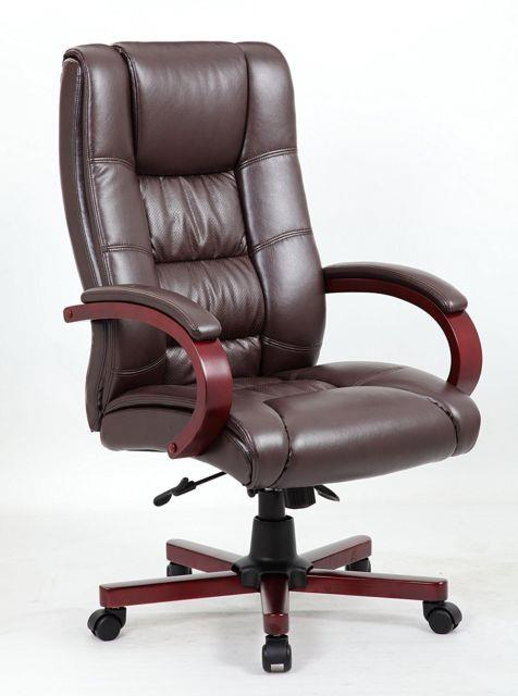 Antique Style Manager Directors Captain Wood High Back Leather Office Desk Chair