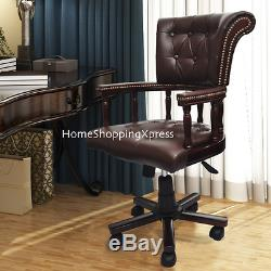 Antique Style Office Chair Chesterfield Solid Wood Executive Vintage Desk Swivel