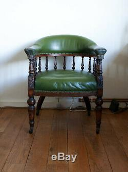 Antique Victorian Captains Office Library Chair Armchair Mahogany Leather