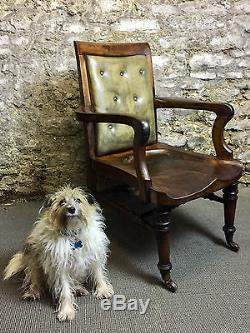 Antique Victorian Mahogany & Leather Office / Desk Chair circa 1840