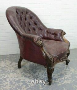 Antique Victorian Walnut & Maroon Buttoned Leather Library Office Chair Armchair