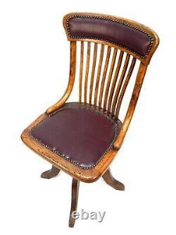Antique Wooden Oak & Leather Revolving Office Desk Chair by D Mathews & Son