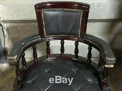 Antique style black leather chesterfield captains chair office bow swivel desk