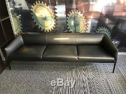 Arper Black Italian Leather Sofa