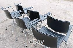 Arper Catifa 46 in 5 Way Swivel Office Meeting Chairs Black Leather X 6