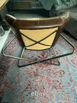 Art Deco Rustic Brown Leather Aviator Retro executive office desk Style Chair