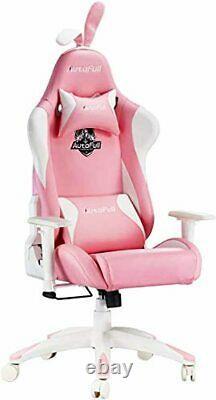 AutoFull Pink Gaming Chair PU Leather High Back Ergonomic Racing Office Desk Com
