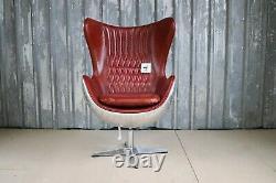 Aviator Aluminium Swivel Tilt Red Leather Egg Chair Industrial Home Office